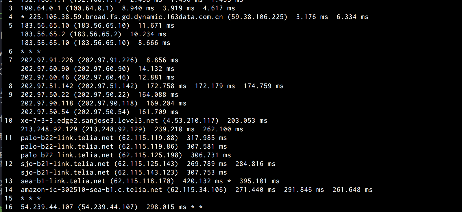 traceroute 结果